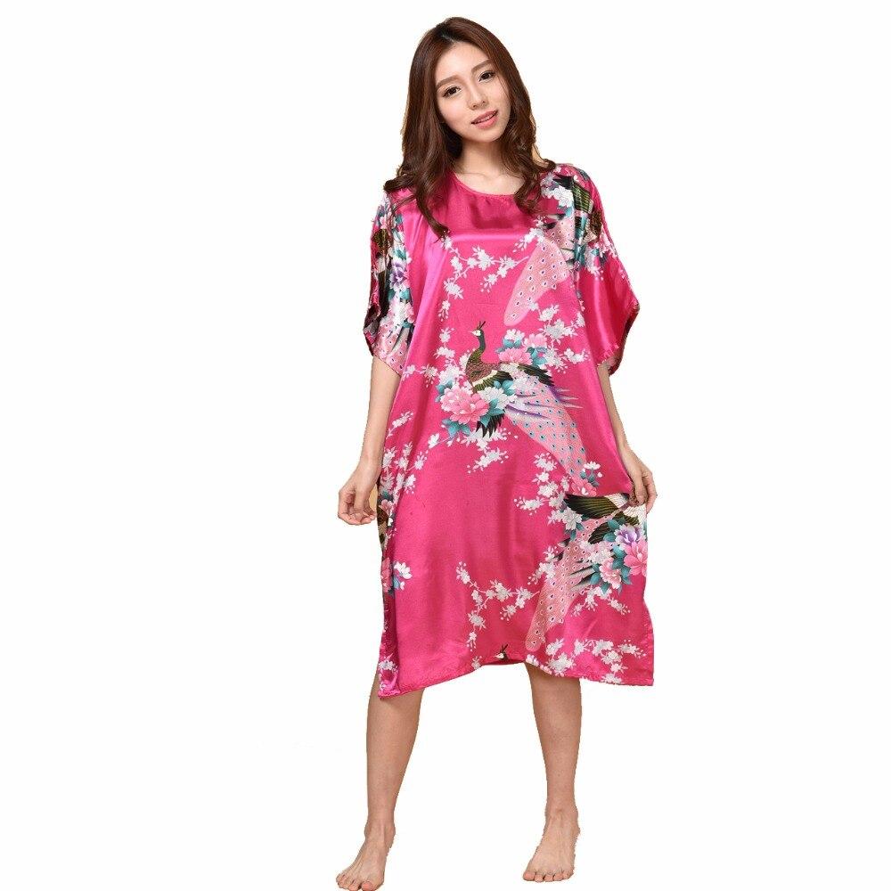 Summer Hot Pink Sexy Silk Rayon Home Dress Women Summer Nightdress   Sleepshirt   Robe Gown Kimono Bathrobe Fit Size 6XL D126-01