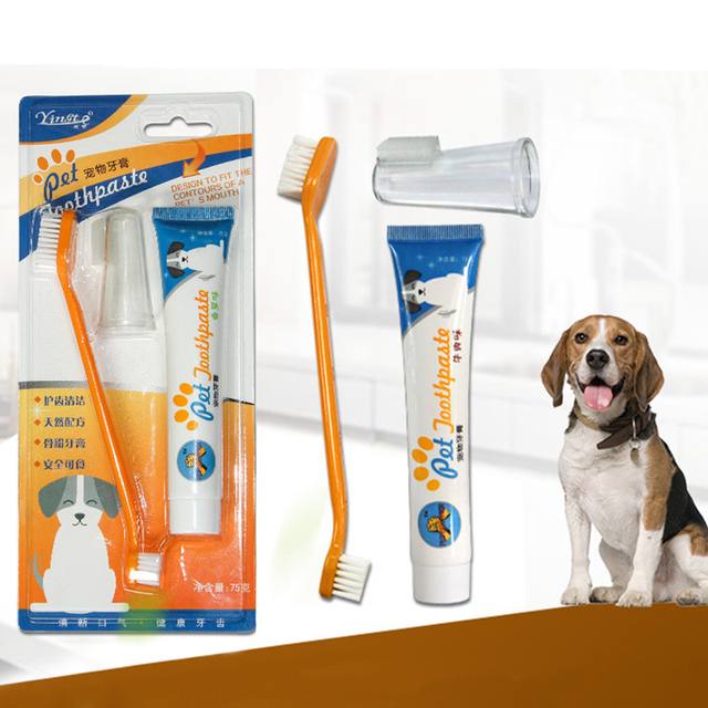 Pet Toothbrush Set Hot Puppy Toothbrush Toothpaste Set Pet Dog Cat Finger Tooth Back Up Brush Care Wholesales