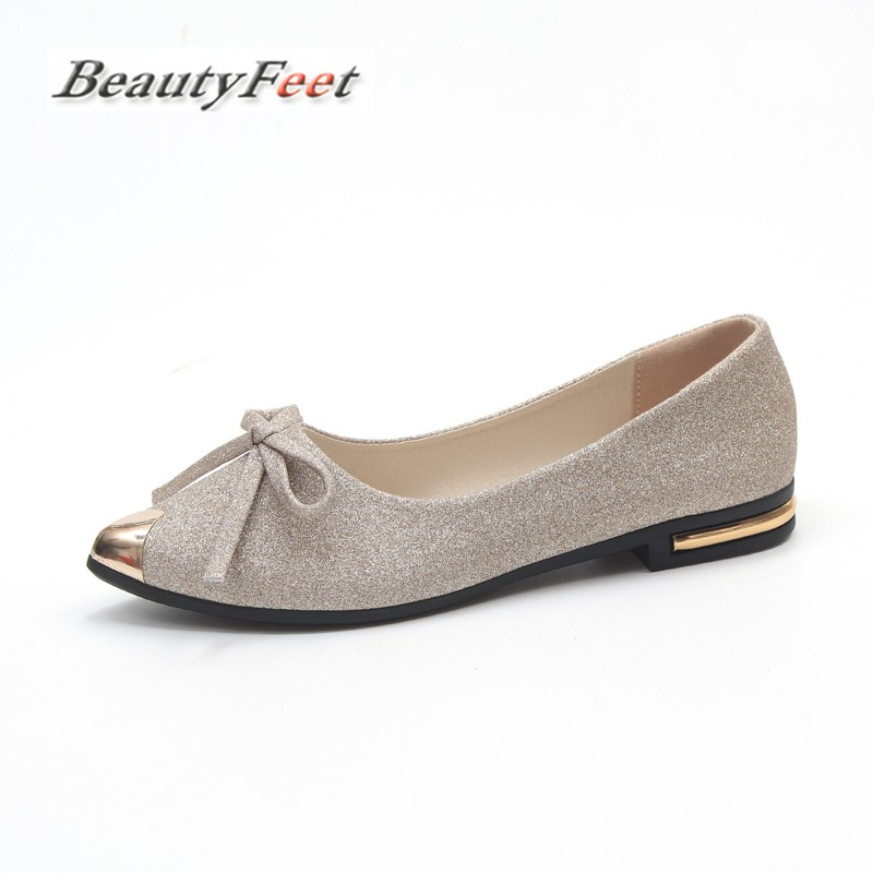 BeautyFeet 2018 Pointed Toe Shallow Women Shoes Woman Comfortable Slip on Casual Shoes Leisure Bow Knot Singles Ladies Shoes [saziae] fashion shoes woman casual ballet dance shallow mouth women working comfortable leisure round toe women s bowtie shoes