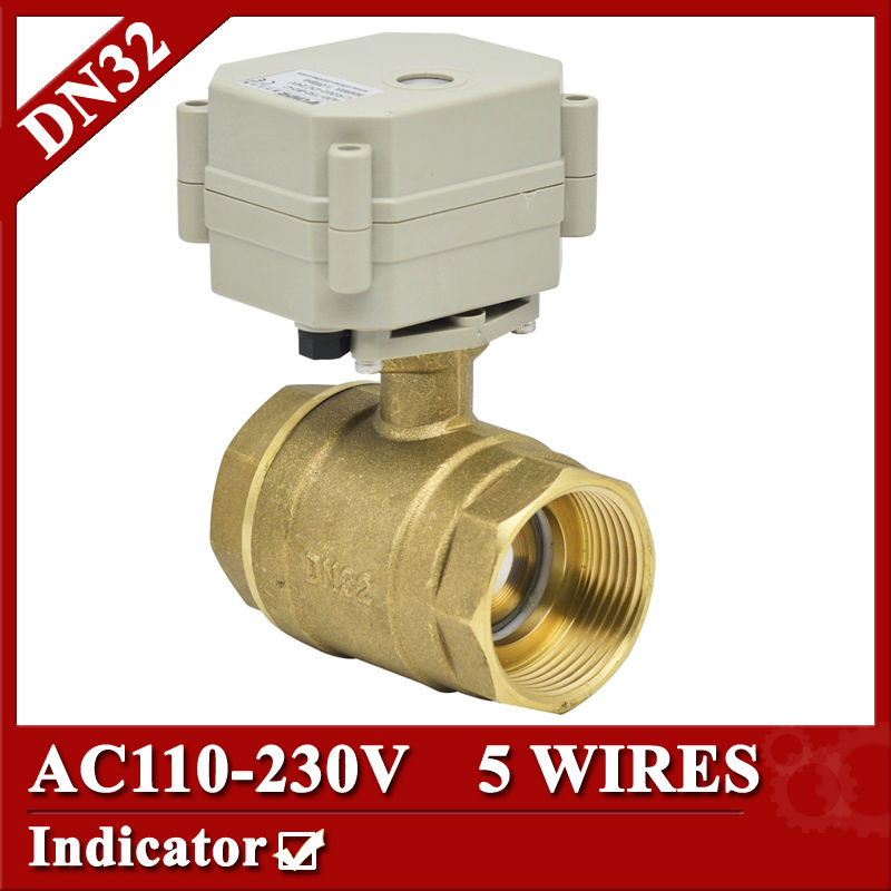 1 1/4 electric valve 2way, DN32 brass electric ball valve 5 wires, 110V to 230V motorized valve with signal feedback 1 2 ss304 electric ball valve 2 port 110v to 230v motorized valve 5 wires dn15 electric valve with position feedback