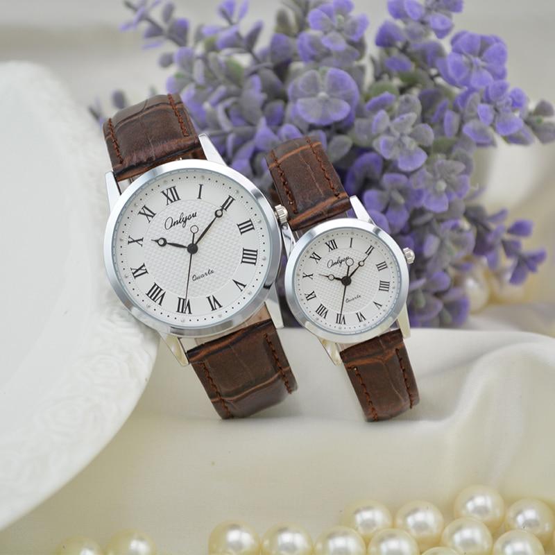 Onlyou Brand Fashion Casual Leather Quartz font b Watches b font Men Women Lovers font b