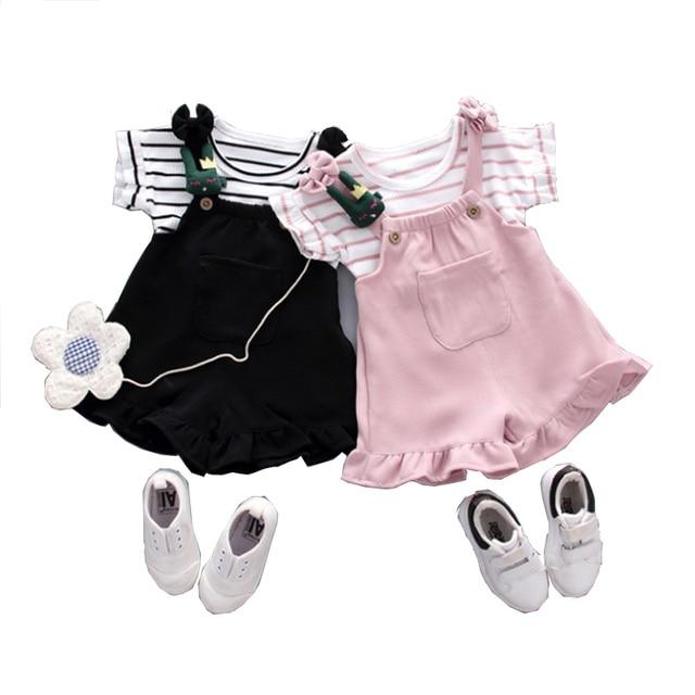 Mùa Hè Phong cách Trung Hoa bé gái quần áo sọc áo + quần short thể thao dành cho bé sơ sinh bé gái bộ trang phục quần áo bộ