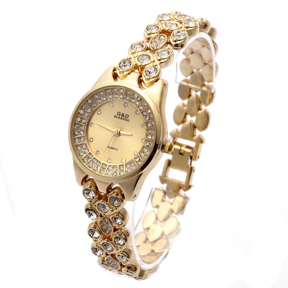2018 жаңа G & D әйелдер алтын бірыңғай тізбегі баспайтын болаттан жасалған топ Әйелдер ринстоны сәнді кварц Білезік Watch аналогтық тағатын сағаттар