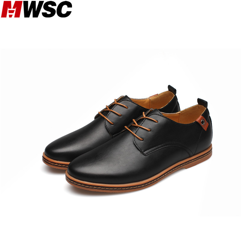 MWSC Men s Lace up Leather Oxford Leather Shoes Fashion Formal Dress Shoes Man British Style