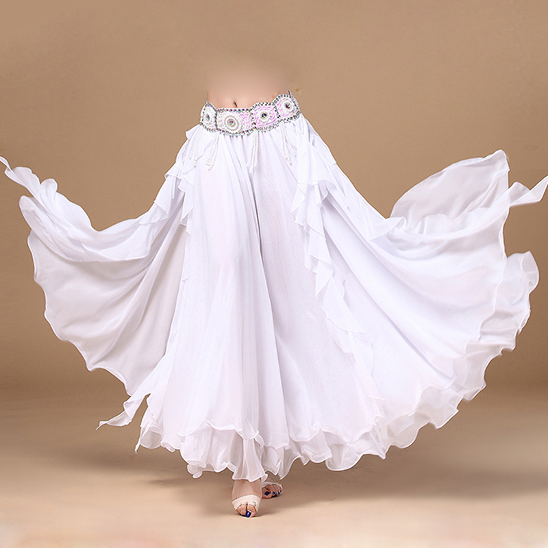 Hot Sale 11 Colors Chiffon Belly Dance Clothing 3 Layers Full Circle Long High Waist Maxi Women Skirts For Belly Dance
