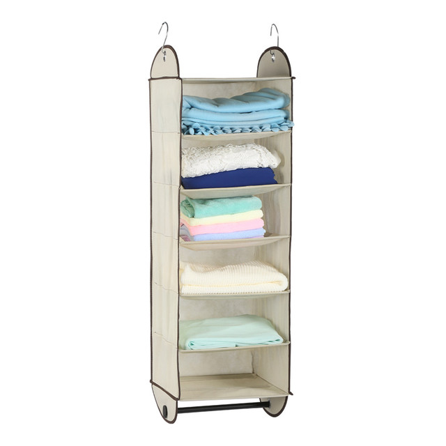 Finether Foldable 6 Shelf Fabric Hanging Closet Organizer For Accessory And  Clothes Storage With Garment Rod