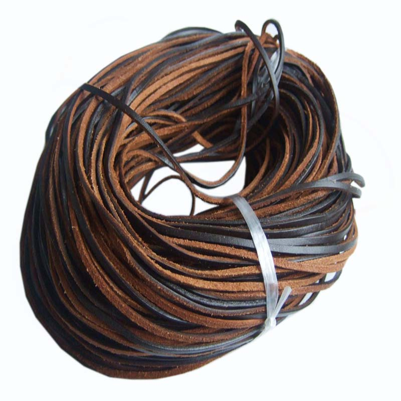10Meter 3*2mm Genuine Solf Brown Color Real Leather Cord For Diy Bracelet Necklace Jewelry Findings Accessories