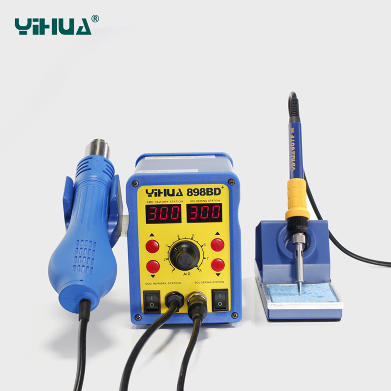YIHUA Rework Soldering Station 898BD+ 110V/220V 700W 2in1 SMD Hot Air Gun+Solder Iron iron tips gun Replace the IC artifact цены