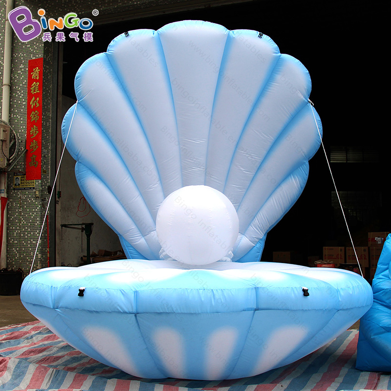 2018 Hot Sale 8.2ft LED lighting inflatable seashell with digital print vivid sea shell toy for party show stage decoration commercial sea inflatable blue water slide with pool and arch for kids