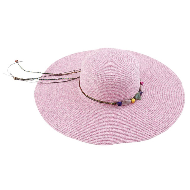 7215cbeda5b2f Summer Beach Women Wide Brim Straw Sun Hat Casual National Style Rose red Beige  Lanyard Sunscreen Beach Sun Hats Cap For Ladies