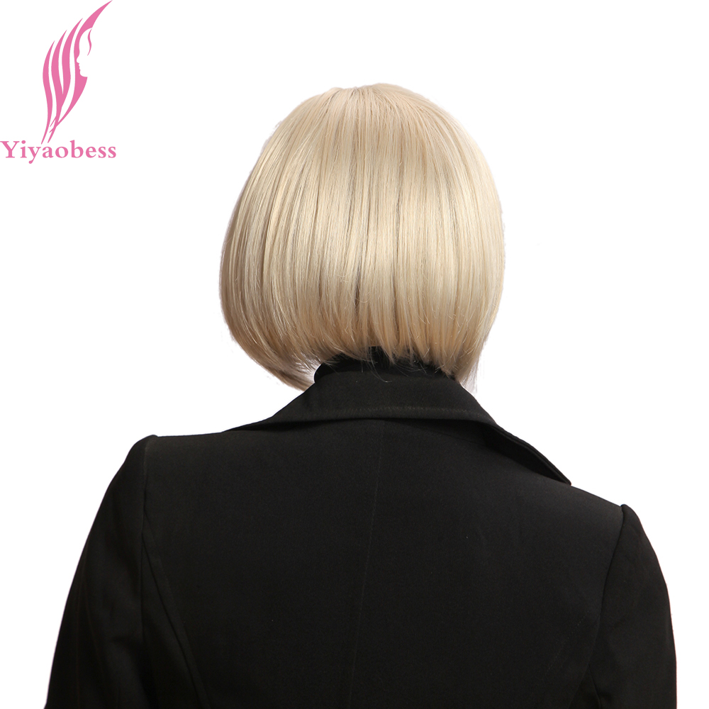 Yiyaobess 10inch Blond Paryk Med Bangs Syntetisk Natural Hair - Syntetiskt hår - Foto 5