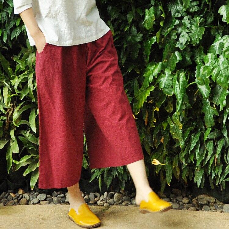 Spring Autumn Women Retro Wide Leg Elastic Waist Palazzo Culottes Loose Casual Midi Pantalons Cotton Linen Casual Pants Trousers