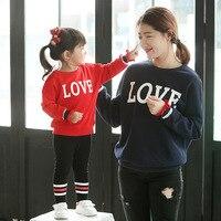 Família Roupas Combinando Roupas Mãe e Filha Camiseta Mãe Crianças de Paternidade para Mom Roupa Das Mulheres da Camisola de Manga Comprida