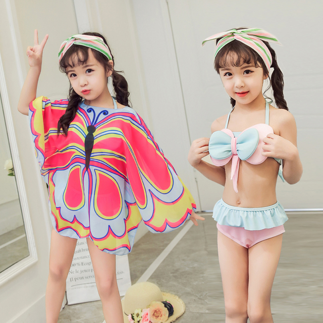 a1b9fad3c5e73 Girls Bikini Set Swimwear Two Pieces Swimsuit Butterfly Print Cover-up  Infantile Summer Kids Cute