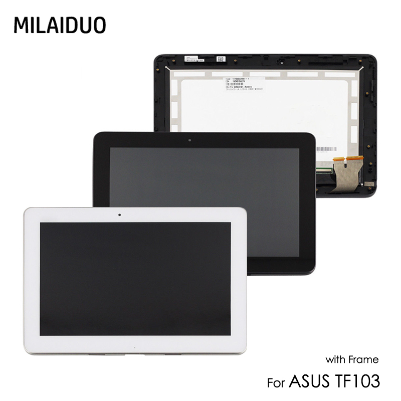 LCD Display For ASUS Transformer Pad TF103 TF103CG K018 LCD Touch Screen Digitizer Sensor Panel Assembly White No Frame Parts flat panel display
