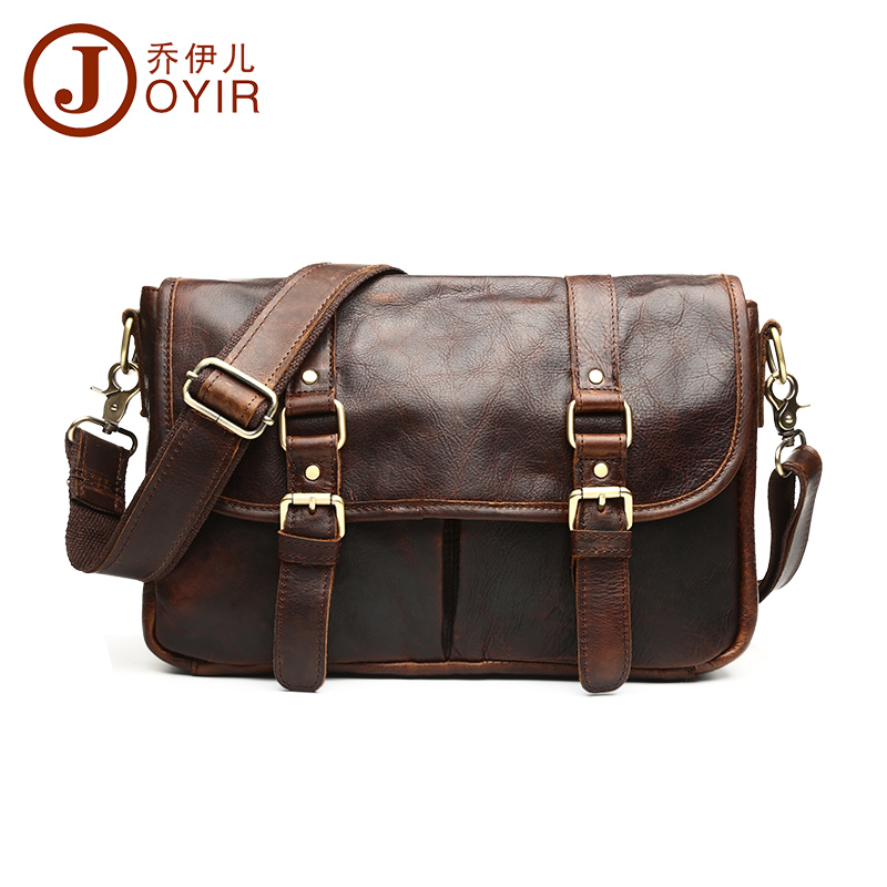 ФОТО JOYIR New Causal cowhide leather men bags small crossbody messenger genuine camera B542