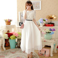 New 2016 summer medium-long full lace white chiffon dress beach dress short-sleeve plus size one-piece dress with belt JN717