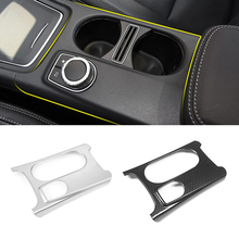 цена на Car Styling ABS Carbon Fiber Texture Center Console Water Cup Holder Trim Cover for Mercedes Benz A GLA CLA Class W176 X156 C117