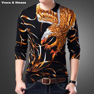 Sweater Eagle-Pattern-Printing Autumn Winter Fashion Cotton New M-3XL Wings Top-Quality