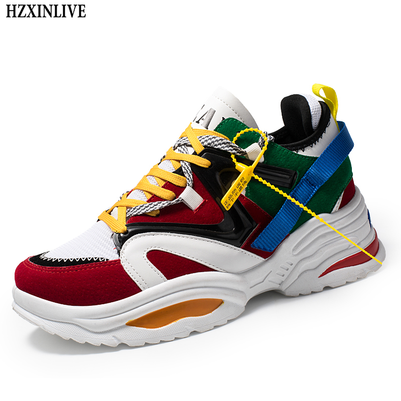 HZXINLIVE 2019 Women Casual Shoes Basket Flock Platform White Sneakers Lace-Up Sewing Wedges Lover Shoes for Women Zapatos Mujer chunky x9x wave runner sneakers multicolor