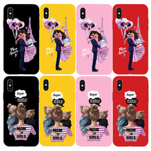 Fashion Girl Queen Color TPU Phone Case for iPhone X XS Max XR 7 8 6 S 6S Plus 5 5S SE Cute Baby Child Mother Silicone