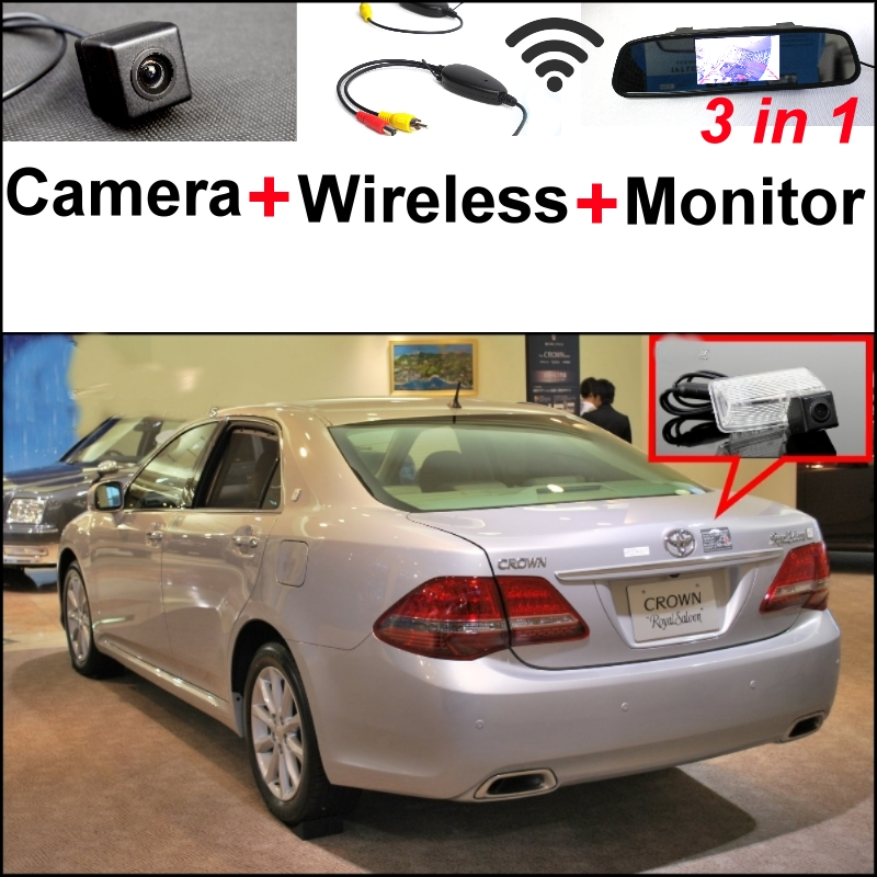 3 in1 Special Camera + Wireless Receiver + Mirror Monitor Backup Parking System For TOYOTA Crown Majesta S180 12 S200 13 S210 14 wireless pager system 433 92mhz wireless restaurant table buzzer with monitor and watch receiver 3 display 42 call button