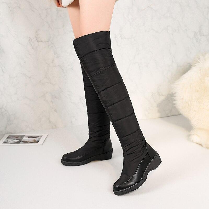 86aa04c88d Rússia inverno botas mulheres joelho quente botas altas dedo do pé redondo  de pele para baixo