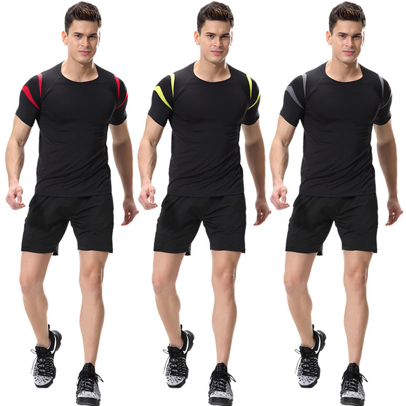 HTB1ny.yacfrK1RkSmLyq6xGApXak Jogging Sport Running Set Men Compression Clothing Training Suit Gym Wear Short Tee And Shorts Two Pieces Fitness Tracksuit