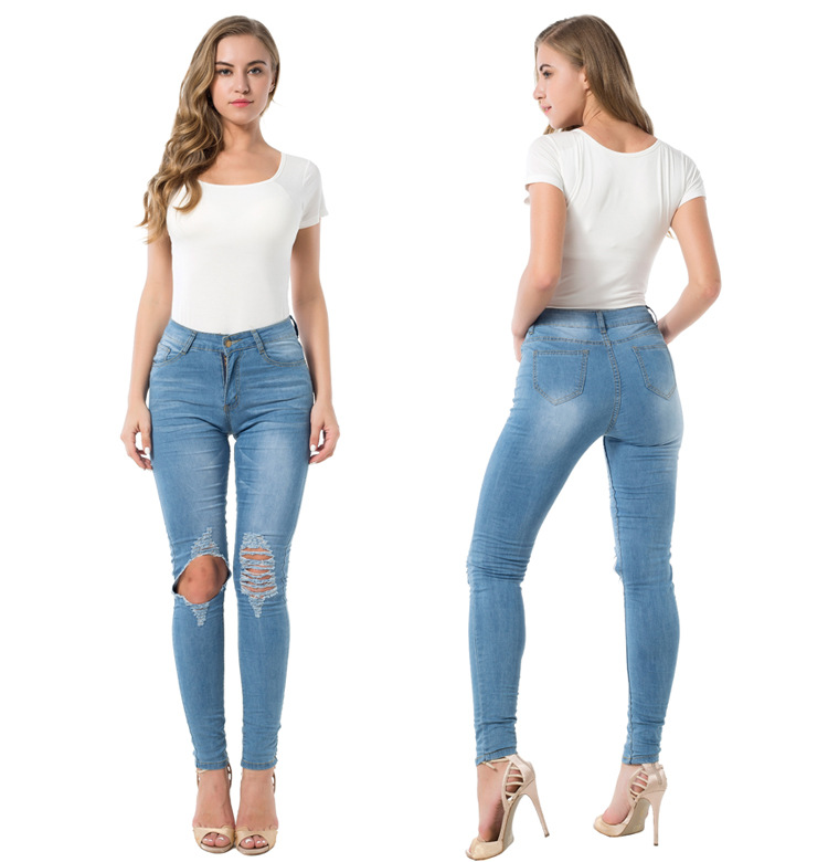 High Waist Skinny Tight Long Jeans Pencil Stretch Ripped Denim Pants Plus Size