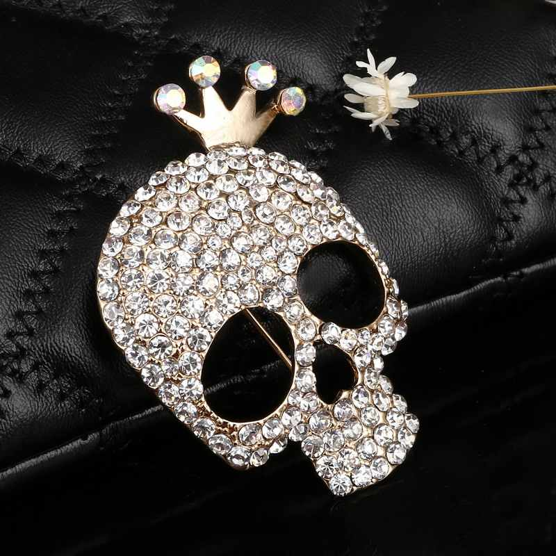 Hesiod Cute Skull Brooch Charms Gold Color Full Crystal Skeleton Pins Brooch Crown Rhinestone Corsage Fashion Jewelry