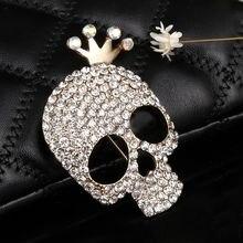 Hesiod bonito crânio broche encantos ouro cor cheia cristal esqueleto pinos broche coroa strass corsage moda jóias