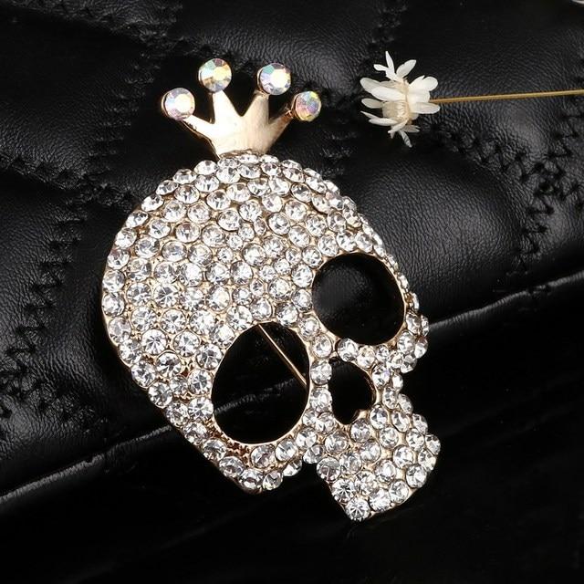 Hesiod Cute Skull Brooch Charms Gold Color Full Crystal Skeleton Pins Brooch  Crown Rhinestone Corsage Fashion 4320272c1dd5