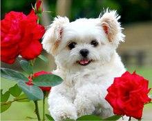 ZOOYA DIY 3D diamond mosaic dog Resin Full diamond Painting Cross Stitch Kits Diamonds Embroidery flowers Rose Home Decoration