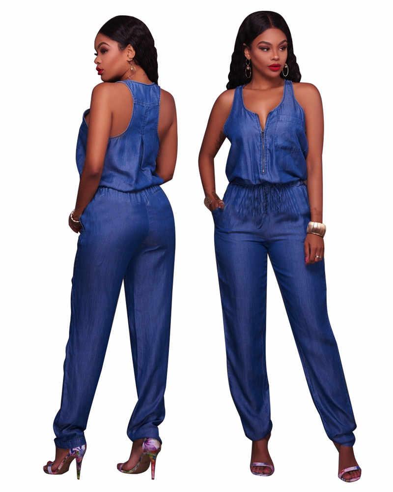 Летний джинсовый комбинезон для женщин без рукавов на молнии с передними карманами комбинезон с длинными штанинами женские элегантные цельные синие джинсы комбинезоны