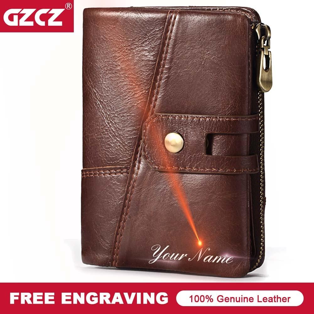 GZCZ Brand Men Genuine Leather Wallets Card Holder Luxury Purse Designer Mini Rfid Walet Hasp Zipper Free Engraving Dropshipped