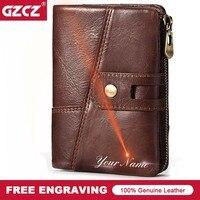 GZCZ Brand Men Genuine Leather Wallets Card Holder Luxury Purse Designer Mini Rfid Walet Hasp Zipper