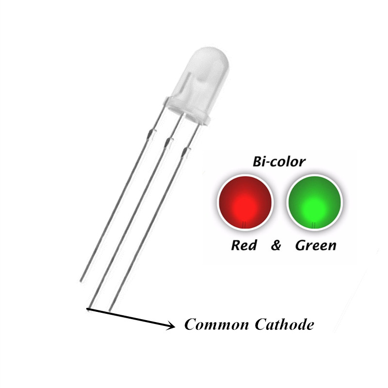 100pcs 5mm Green And Red Common Cathode 5 MM 20mA  LED Diffused Bicolor LED Lamp Light Beads