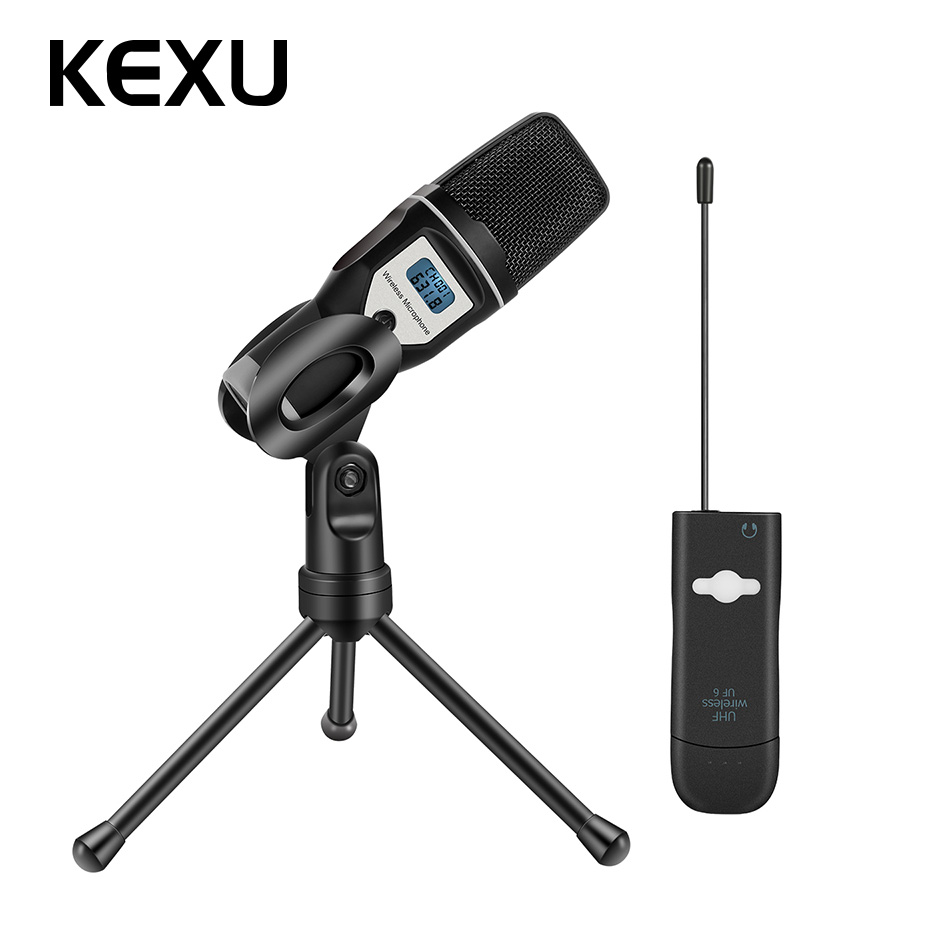 KEXU USB sound card UHF wireless microphone compatible with audio computer karaoke live condenser microphone for Karaoke System felyby multi function live sound card professional condenser microphone bm800 for computer karaoke network podcast microphone