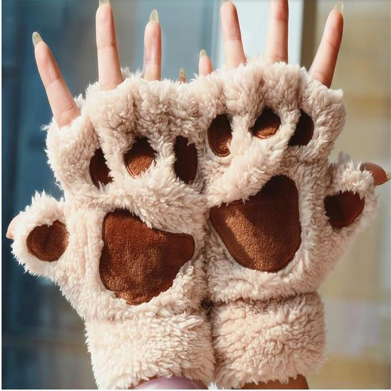 Cute cat claw female baby winter warm soft gloves warm plush half finger comfortable gloves