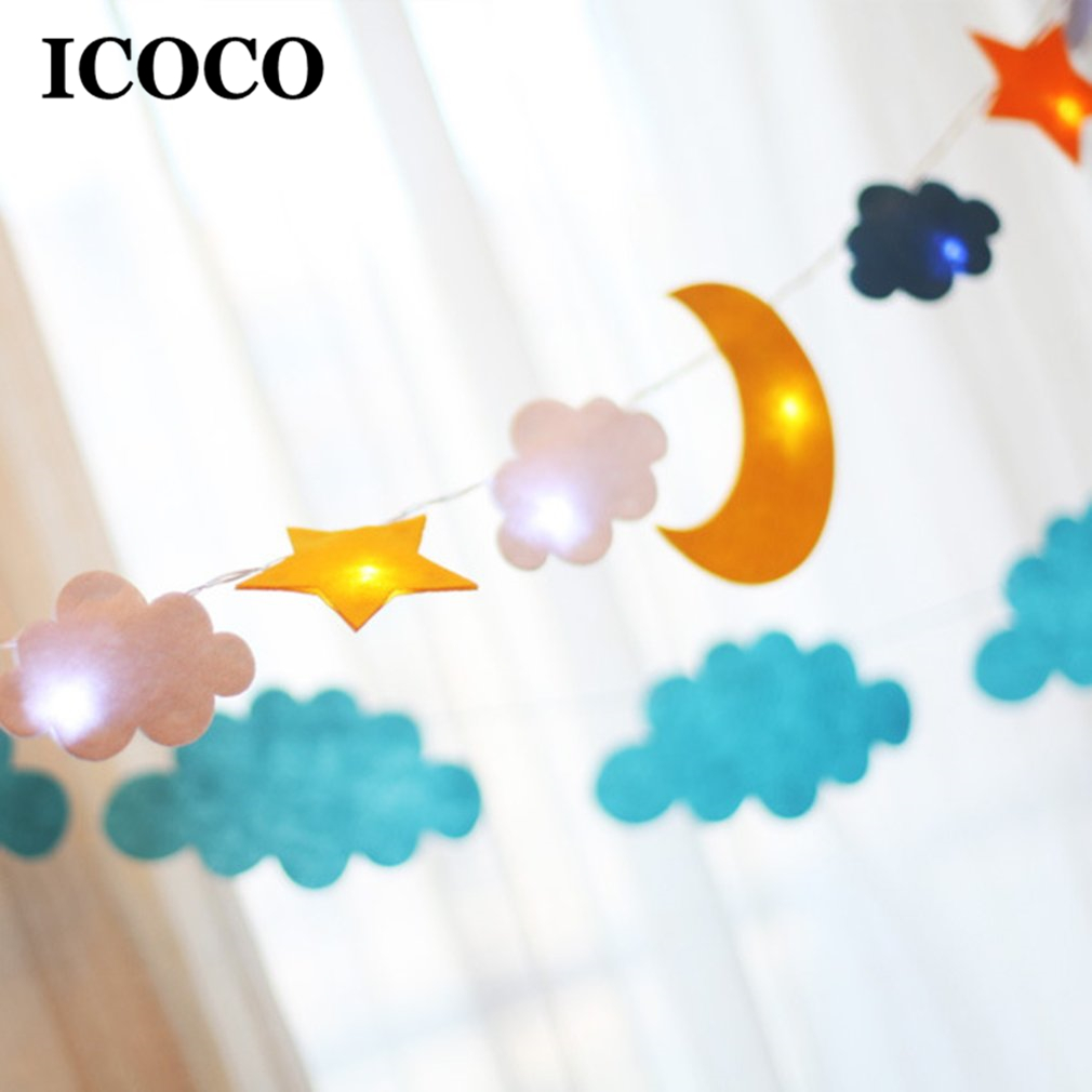 ICOCO 2m Cute Design Star Moon Sun LED Fantasy String Light for Children Bedroom Tents Party Decor Drop Shipping Sale