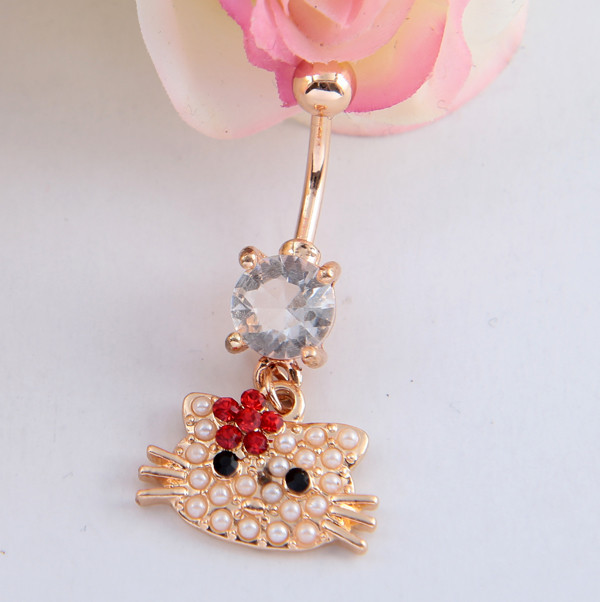 product Fancy Cat Belly Button Rings Navel Piercing Belly Ring Medical Steel Body Piercing Pearl Jewelry Dangle Belly Rings Bara Women