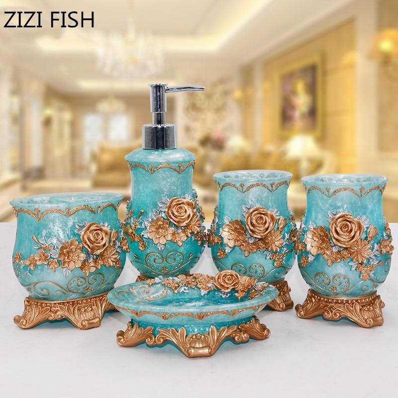 Rose flower 5PCS Resin Bathroom Accessories Set Soap Dispenser/Toothbrush Holder/Tumbler/Soap Dish Bathroom Products