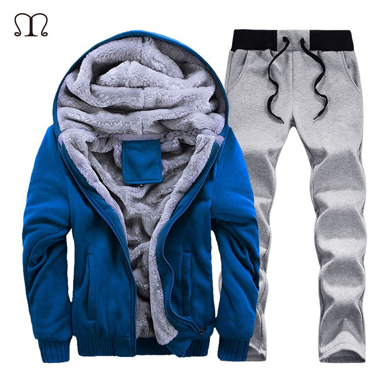 Fashion Tracksuit Men Casual Hooded Warm Tracksuit Sweatshirt Male Winter Thick Inner Fleece Jacket+Pant Men Moleton Masculino