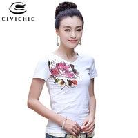 CIVI CHIC Summer Floral Print Women T shirt Chinese Ethnic Style Cotton Tops Nail Diamond Tee V Neck Slim Tshirt Plus Size WST39