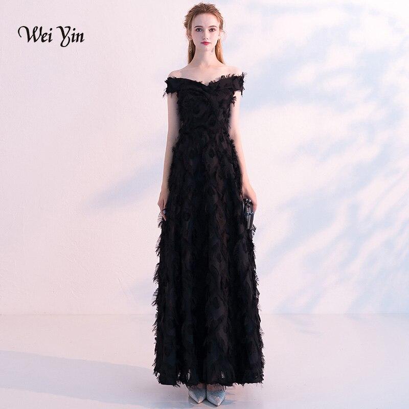 03f377ba710 Weiyin сексуальные черные длинные вечерние платья женские элегантные 2019 v-образный  вырез Длинные Макси Вечерние платья vestido longo WY1105 - b.mamix.me