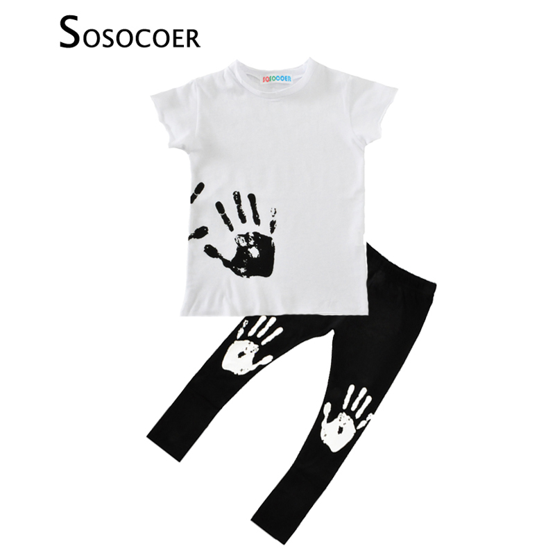0c37d9ead SOSOCOER Baby Boy Clothing Set Summer Handprint T Shirt+Pants 2pcs ...