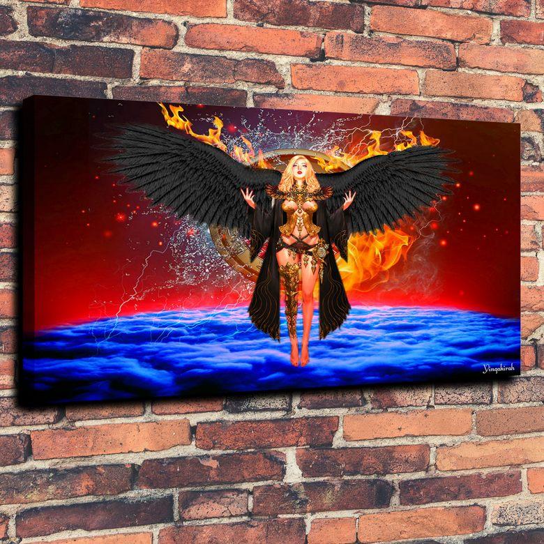 Angel Art Fantasy Woman Fire Abstract Wallpaper Print Oil