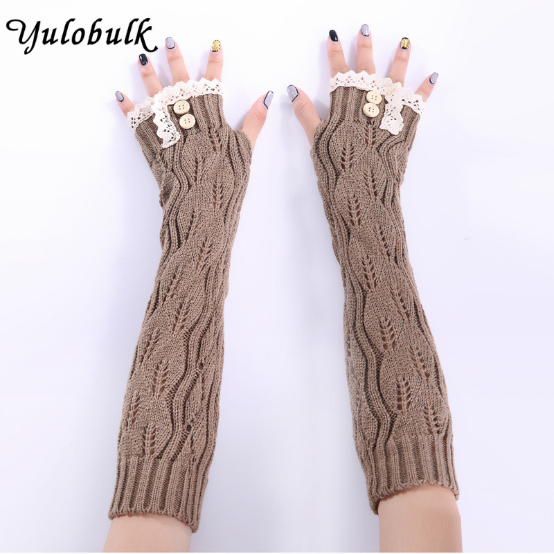 Leaves Pattern Knitted Arm Warmer Knitted Glove Thumb Hole With Two
