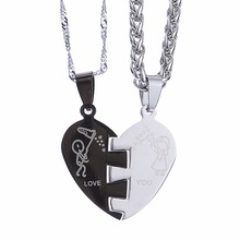 """2pcs Heart-Shape """"Love You"""" Stainless Steel Couple Necklace(One Pair)"""