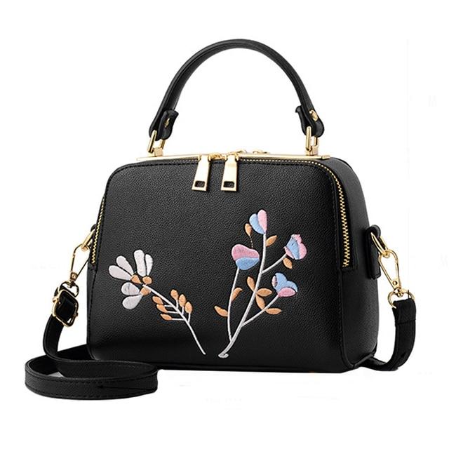 Bloemen Geborduurde Vintage handtassen PU Tas 2017 Leer vrouwen w8RRB